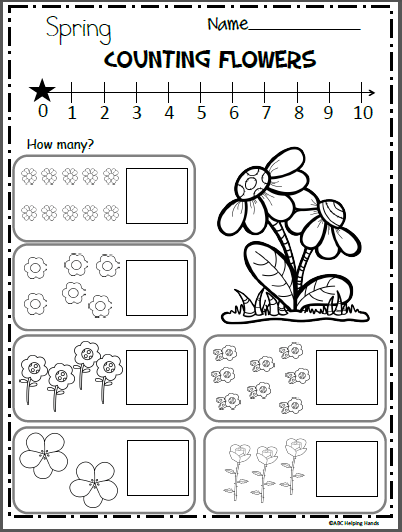 Spring Flower Counting And Number Writing