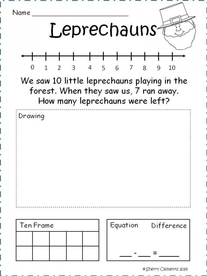 St Patricks Day Subtraction Word Problems