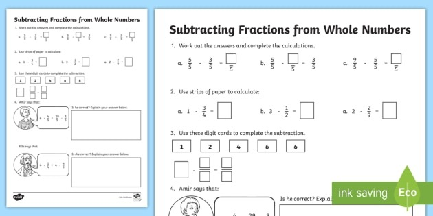 Subtracting Fractions From Whole Numbers Worksheet