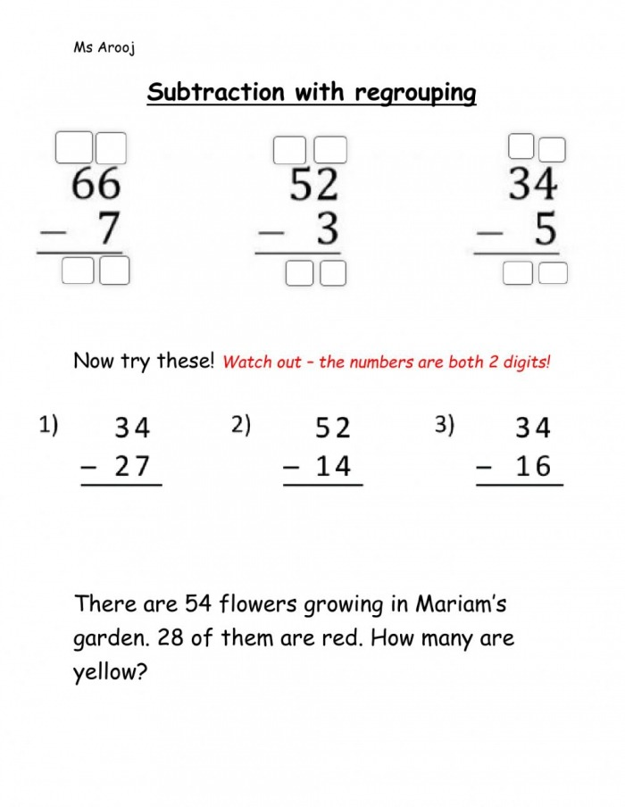 Subtraction With Regrouping Online Exercise For