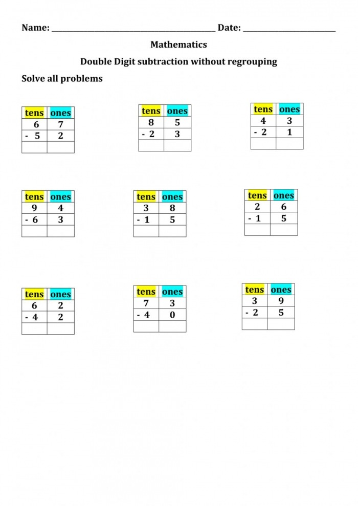 Subtraction Without Regrouping Interactive Worksheet