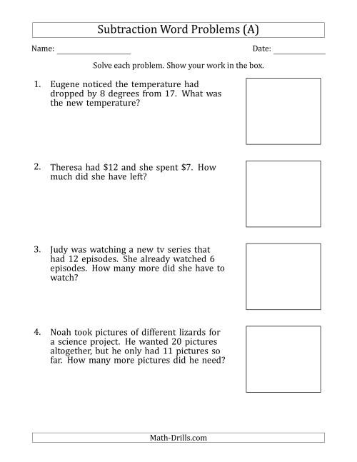 Subtraction Word Problems With Subtraction Facts From  To  A