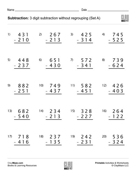 Subtraction Worksheet   Digit Subtraction Without Regrouping