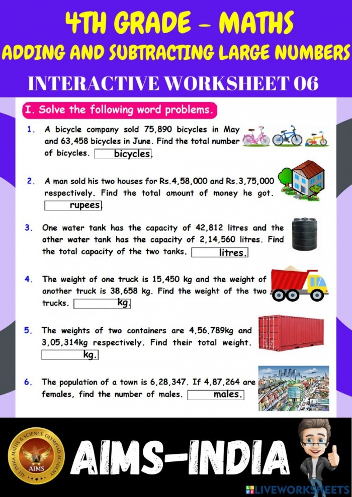 Adding And Subtracting Large Numbers Worksheet