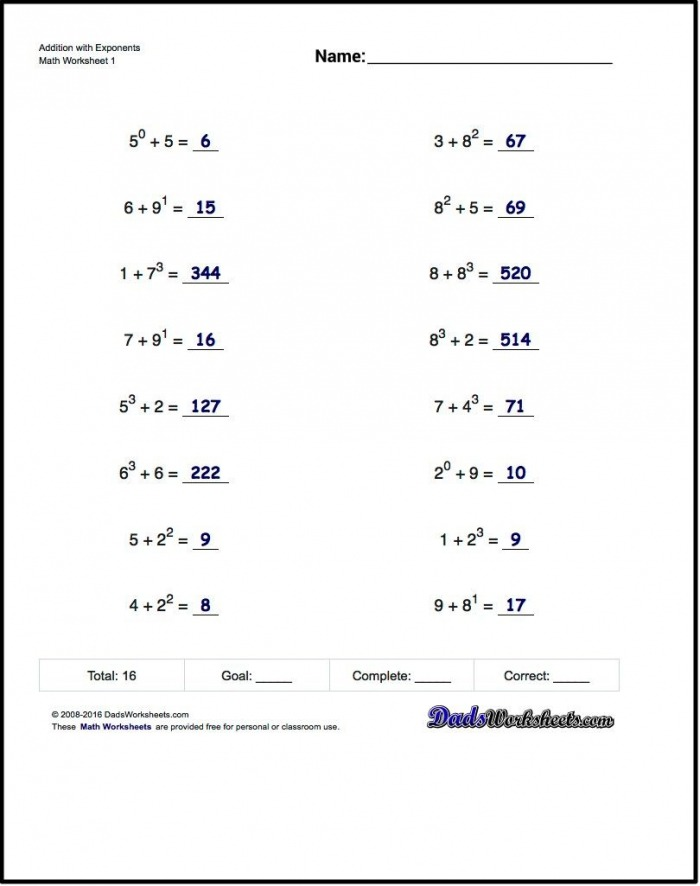 The Exponents Worksheets In This Section Provide Practice That
