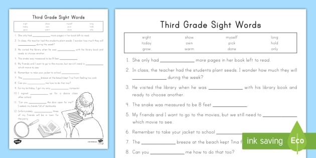 Third Grade Dolch Words Worksheets