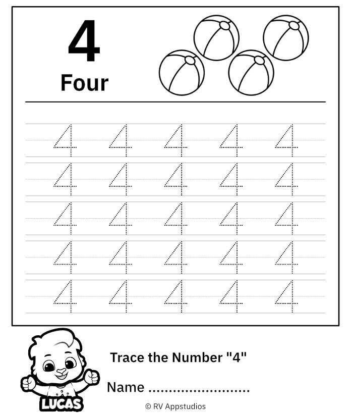 Trace Number  Worksheet For Free For Kids