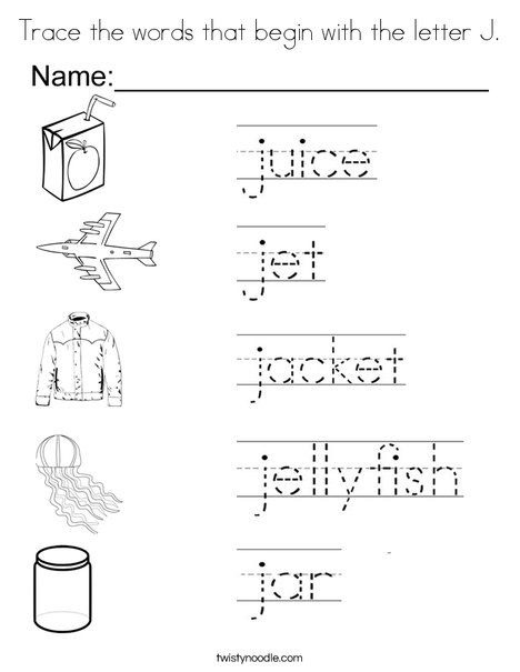 Trace The Words That Begin With The Letter J Coloring Page