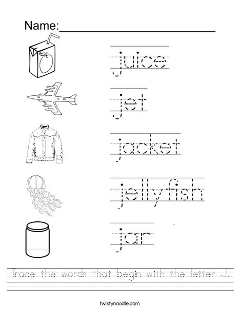 Trace The Words That Begin With The Letter J Worksheet