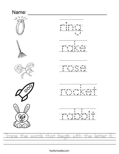 Trace The Words That Begin With The Letter R Worksheet