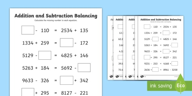 Uks Addition And Subtraction Balancing Equations Differentiated