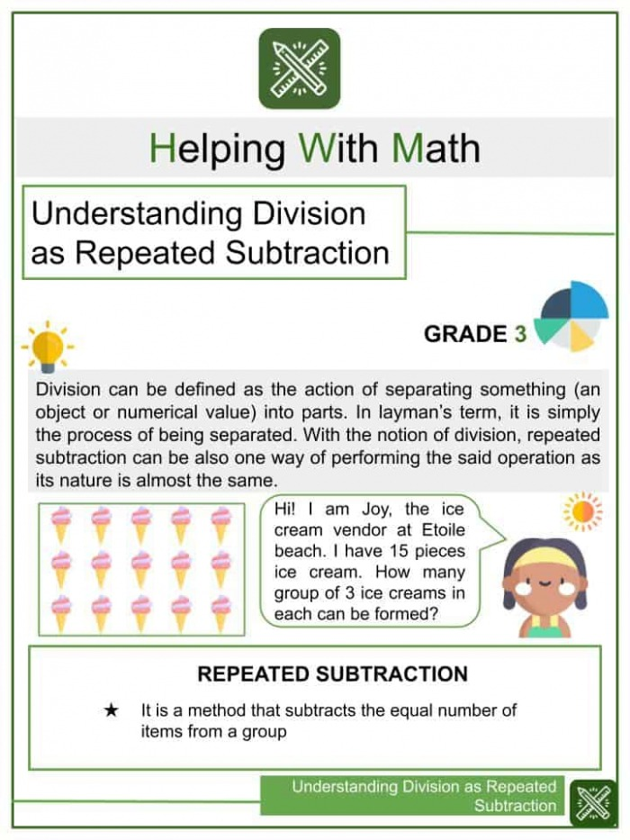 Understanding Division As Repeated Subtraction Math Worksheets