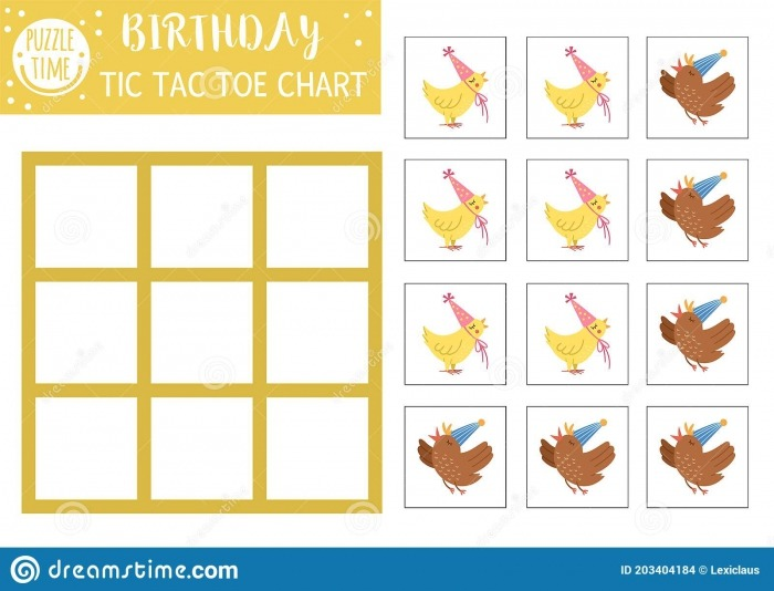 Vector Birthday Tic Tac Toe Chart With Cute Birds Holiday Board