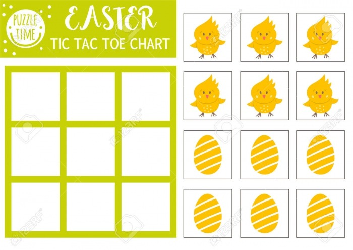 Vector Easter Tic Tac Toe Chart With Cute Chicken And Egg Holiday