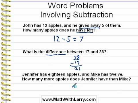 Video For Lesson  Word Problems Involving Subtraction