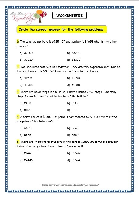 Worksheet Circle The Correct Answer For The Following Problems