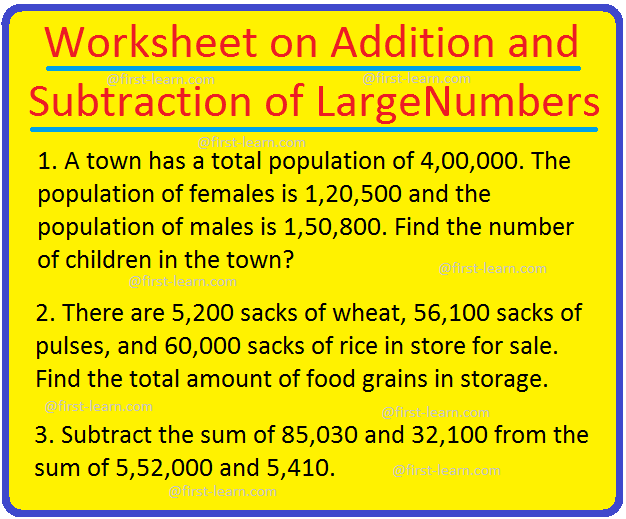 Worksheet On Addition And Subtraction Of Large Numbers