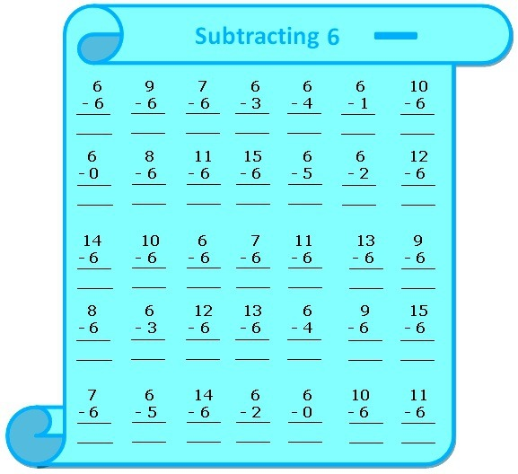 Subtraction Table Worksheet