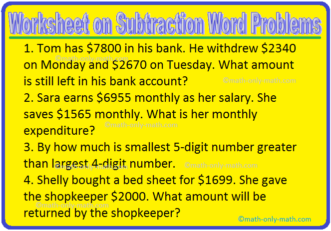 Worksheet On Subtraction Word Problems