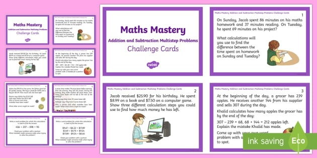 Year  Addition And Subtraction Multistep Problems Challenge Cards